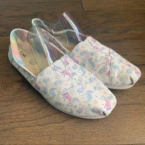 TOMS Unicorn Rainbow Shimmer Slip On Flat Shoes